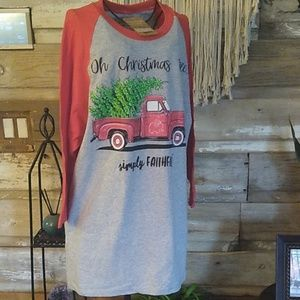 Simply Faithful Red Truck Oh Christmas Tree Shirt